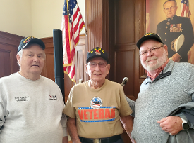 Don Hawkins, WWII Iwo Jima Veteran Wayne Saucerman & Dave Sassman at the 75th Anniversary ceremony at the IN War Memorial