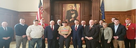 Iwo Jima 75th year Anniversary with Sen Young, Congressman Pense, WWII Iwo Jima Veteran Wayne Saucerman at the Indiana War Memorial on 21Feb20