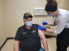 Don getting his Coronavirus shot on 16Jan21